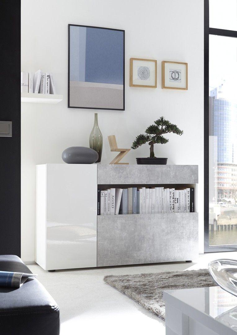 Meuble De Rangement Design Blanc Laque Beton Camargue Matelpro Meuble Rangement Decoration Maison Mobilier De Salon
