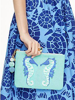 on purpose seahorse beaded pouch by kate spade new york