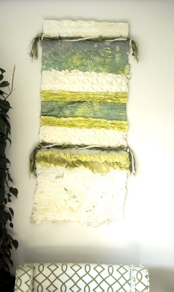 Green Paper Art Work, Mixed Media Wall Art, Fiber Art, Paper Wall ...
