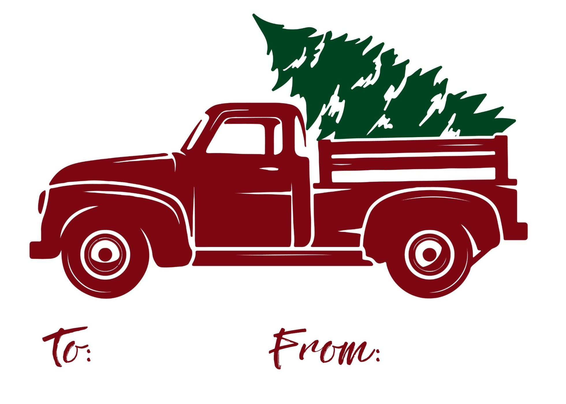 Red Truck Gift Tag Christmas red truck, Christmas gift