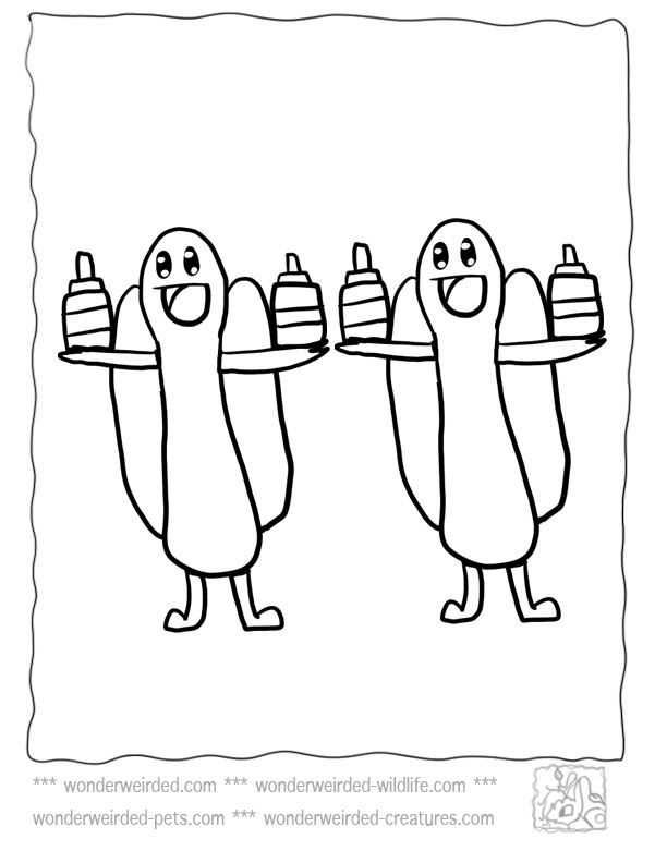 Food Coloring Pages Cartoon Hot Dog At Wonderweirded Page Free Of