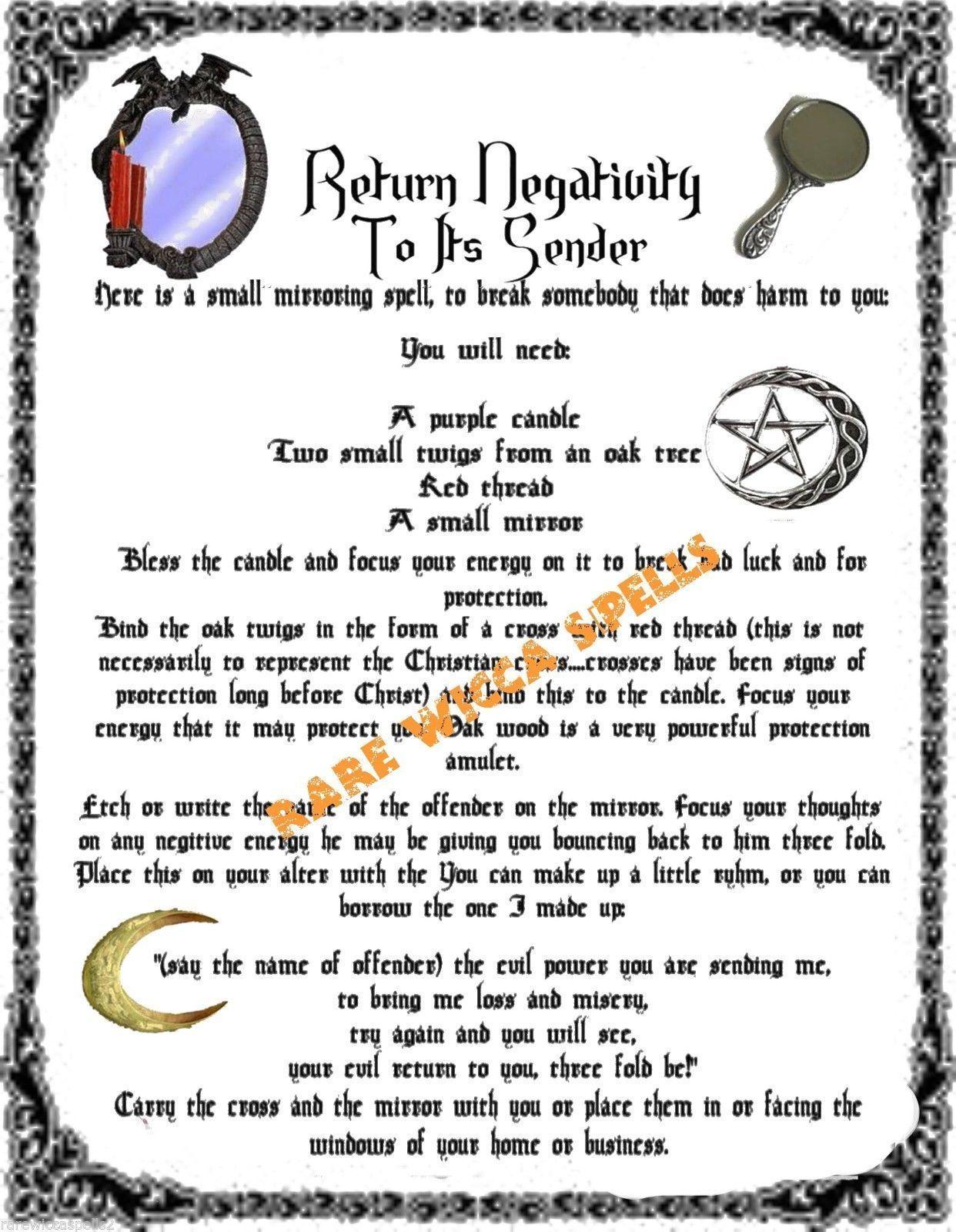 Return Negativity To It S Sender Ritual Spell Banishing Spell Book Of Shadows Karma Spell