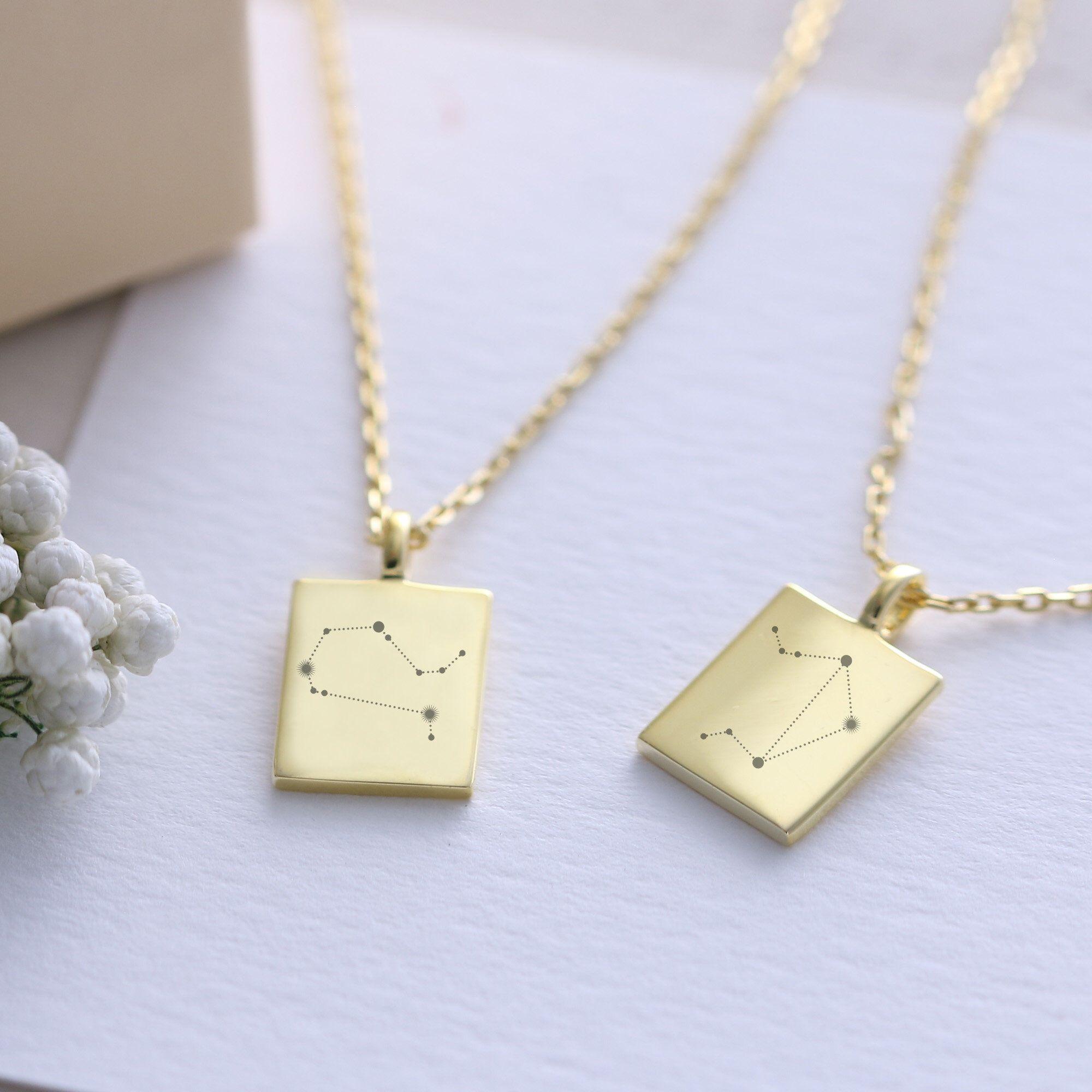 925er Silber vergoldet Sternzeichen Kette - personalisiertes Geschenk - Zodiac Kette - romantische Kette - Geschenk für sie gk007