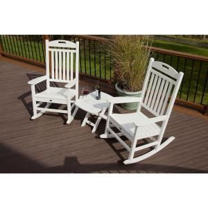 Trex Outdoor Furniture Yacht Club Classic White 3 Piece Patio Rocker