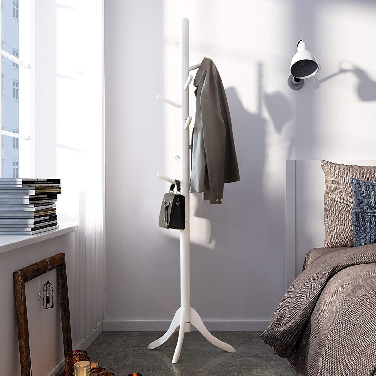 Lch Sturdy Standing Coat Rack Solid Rubber Wood Hall Tree Coat Tree With Tripod Base 8 Hooks White Coat Rack White Coat Rack Coat Tree