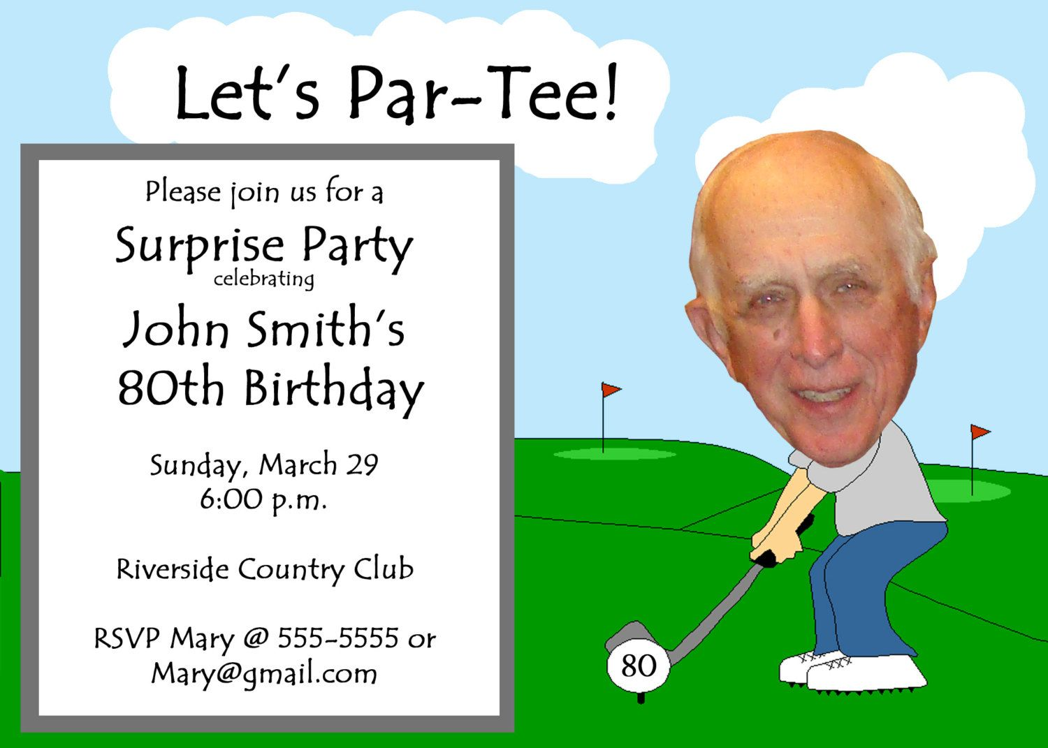 Golf Themed Funny Unique Retirement Invitation by PictureYourself – Party Invitation Funny