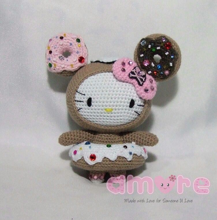 Hello kitty crochet amigurumi handmade keychain by Whitesundays ... | 764x752
