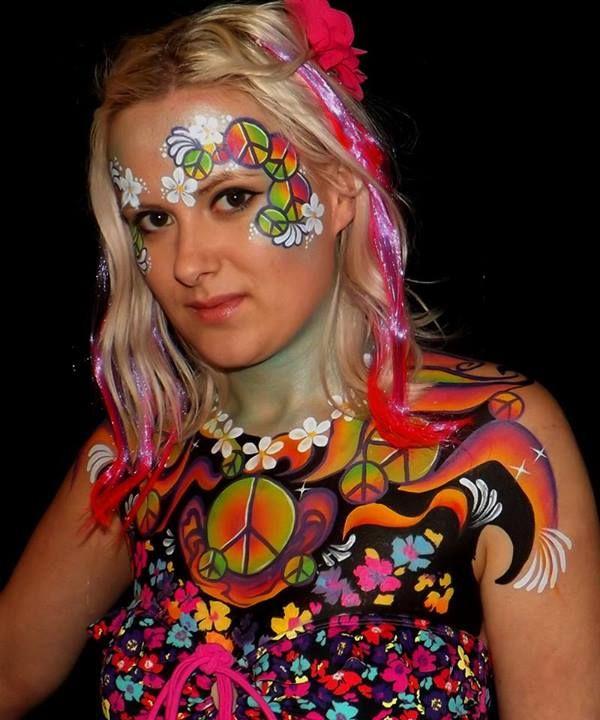Rainbow Peace Sign Flower Face Body Painting Hippie Face Paint Face Painting Festival Face Paint