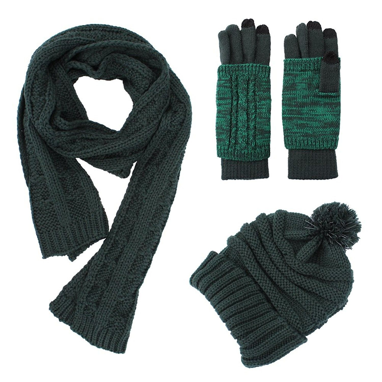 Knit Hat Scarf Gloves Set Women Men Unisex Cable Knit Winter Cold Weather Gift Set Forest Green Cn187mxx89u Winter Knits Hat Scarf Gloves Set Cold Weather Scarf