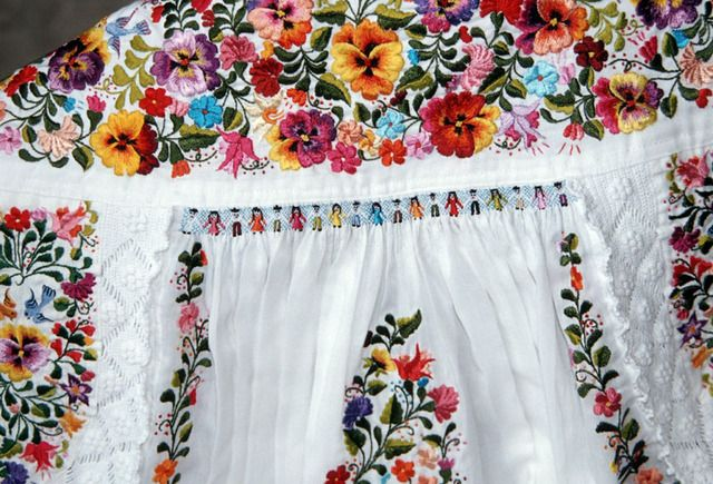 "harvestheart: "" Mexican Embroidered Dress Lavish hand embroidery covers a traditional  Mexican wedding dress by Oaxaca artisan Faustina Sumano Garcia."