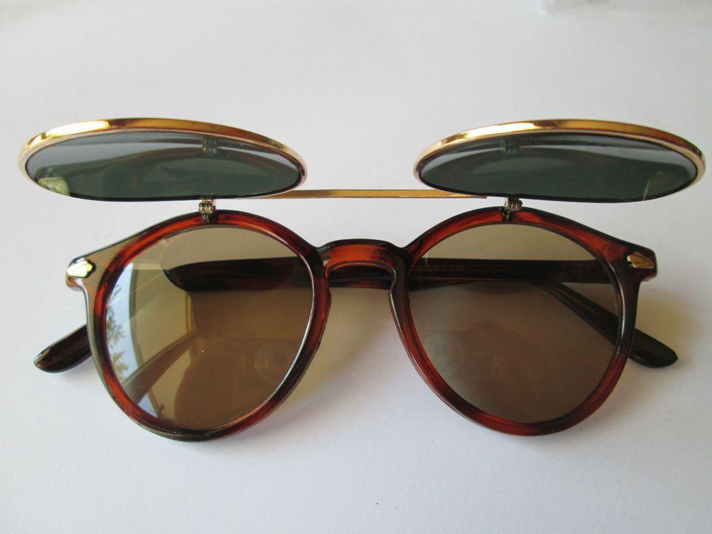 Retro Sonnenbrille zum Hochklappen 70er Stil rötlich Hippie