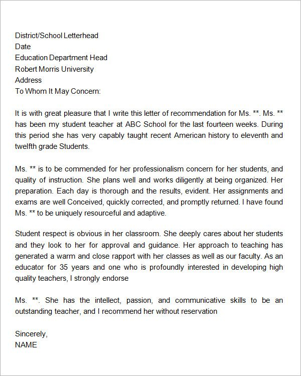 Sample letter of recommendation for teacher 18 documents in sample letter of recommendation for teacher 18 documents in word spiritdancerdesigns Image collections