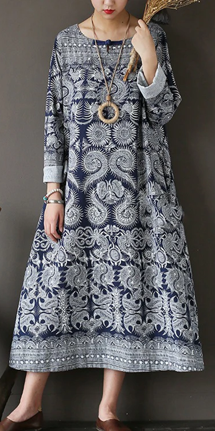 new fall dark blue print cotton dresses plus size