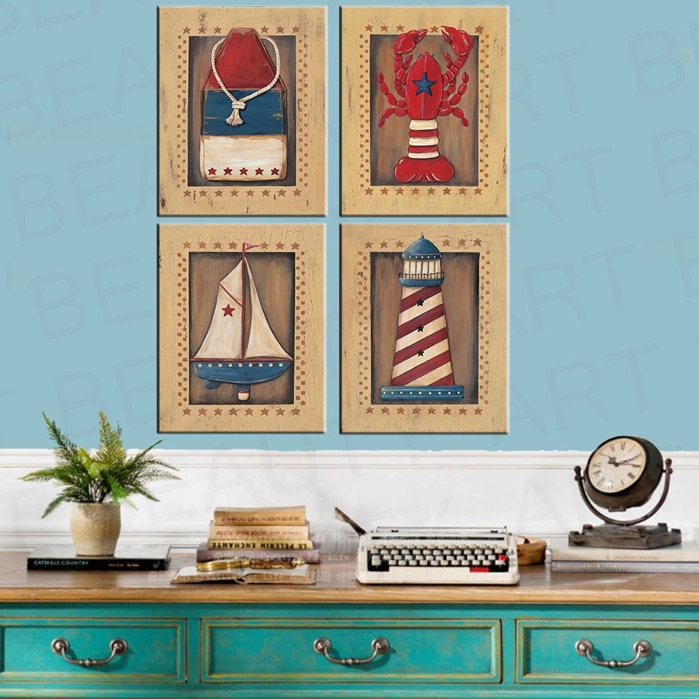 Unframed Vintage Nautical Sea Wall Art Picture Prints Canvas Home ...