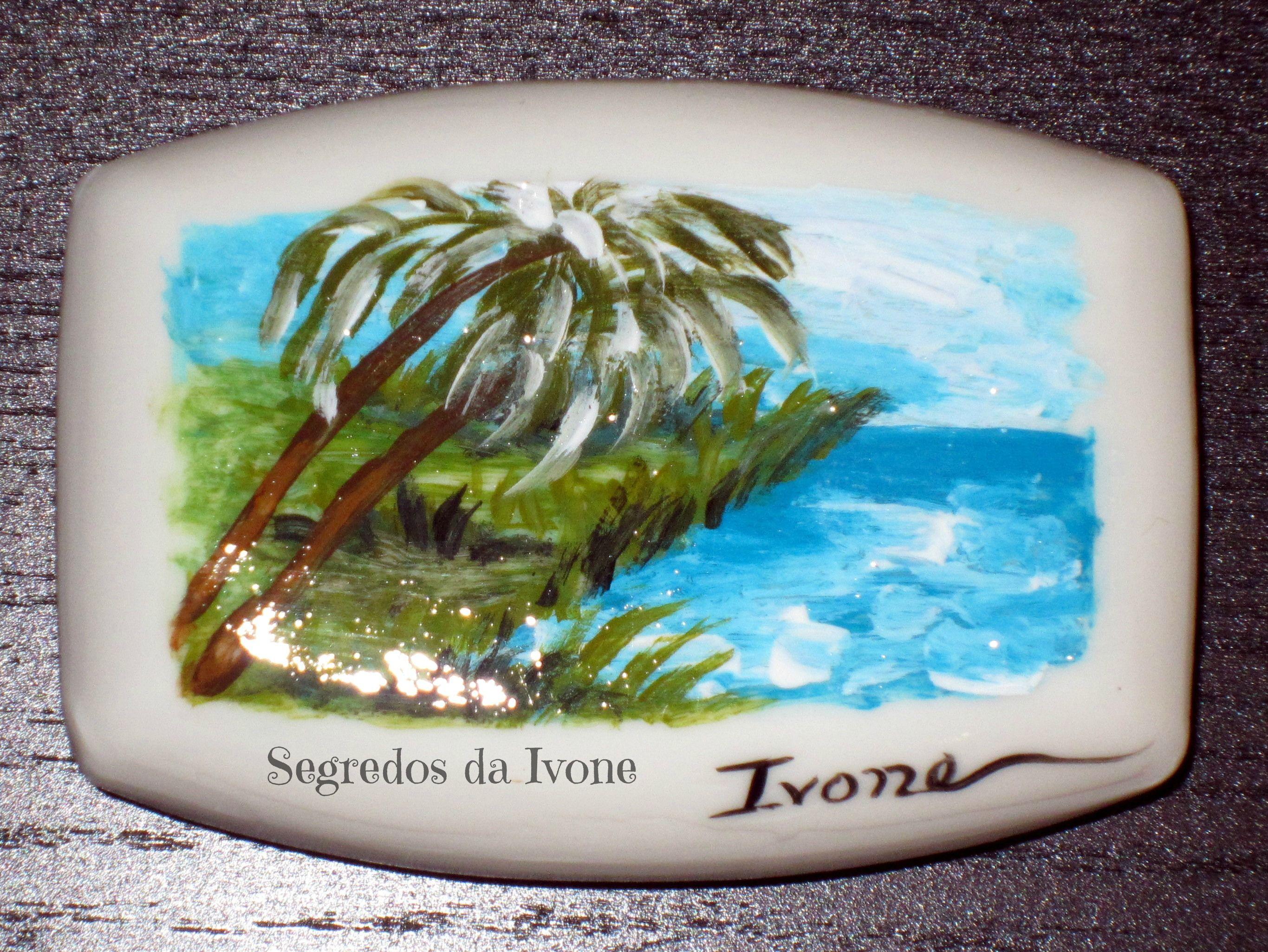 SA49-  Pintura em sabonete - motivo paisagem de mar