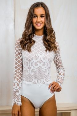 Long Sleeve Lace Bodysuit - White  893022066