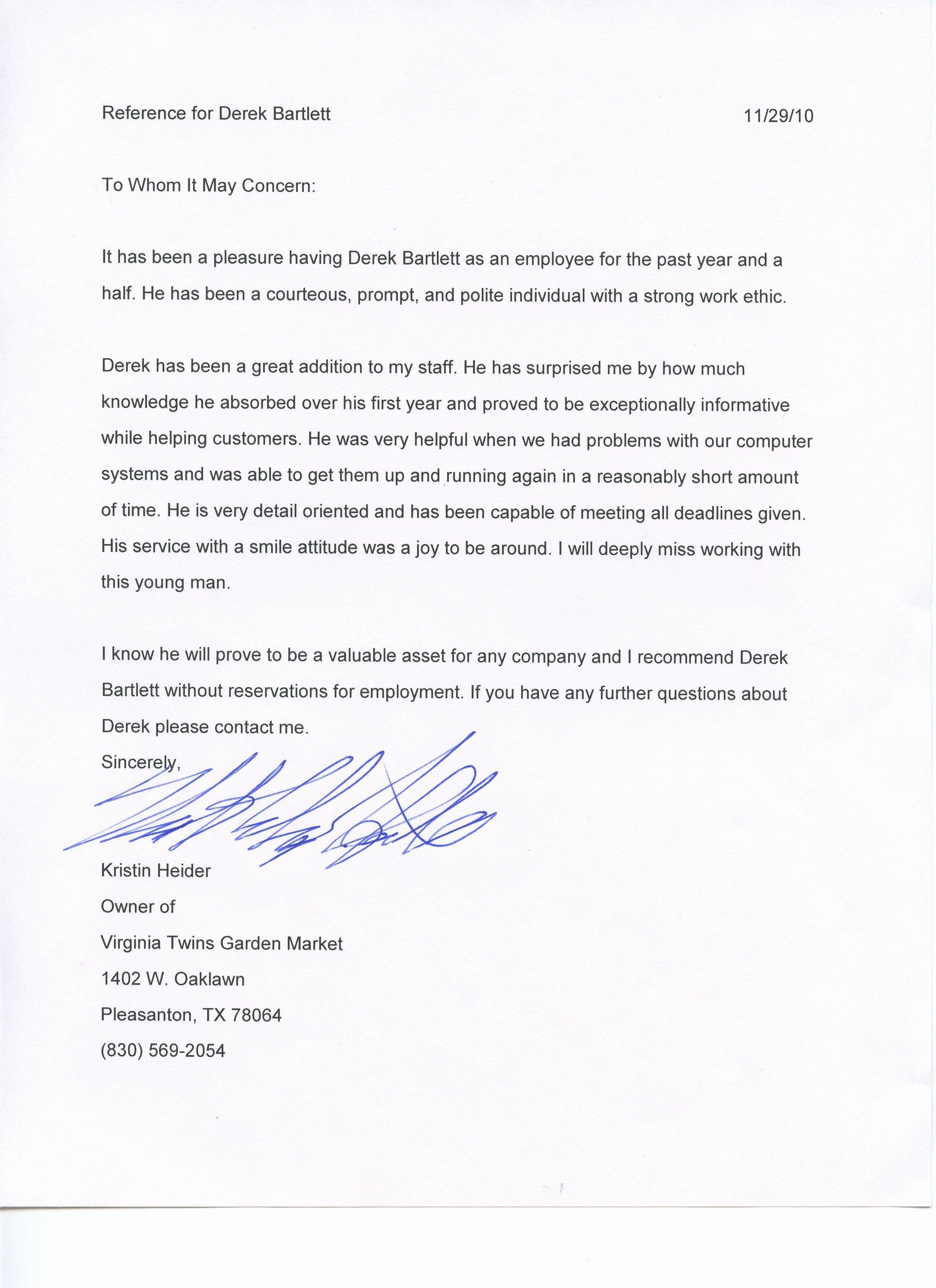 Texas Tech Letter Of New Derek Bartlett