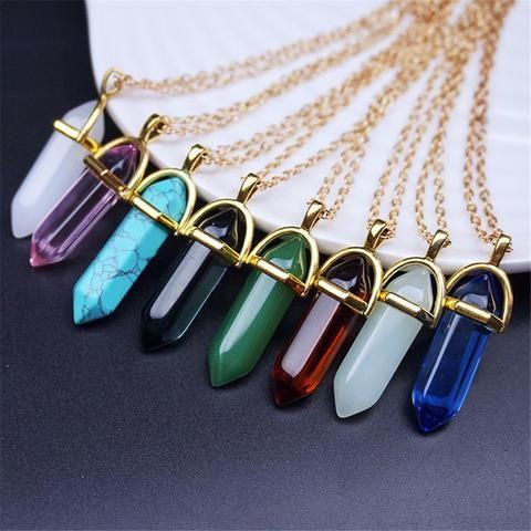 New Natural Stone Bullet Shape Pendant on Chain Colour Choice Agate Quartz