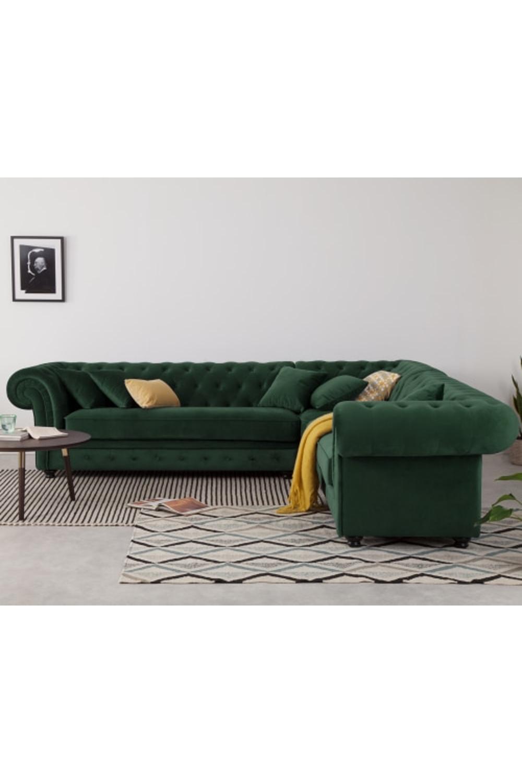 Made Pine Green Velvet Corner Sofa In