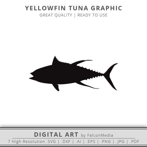 Yellowfin Tuna SVG - Silhouette - Saltwater Fish ...