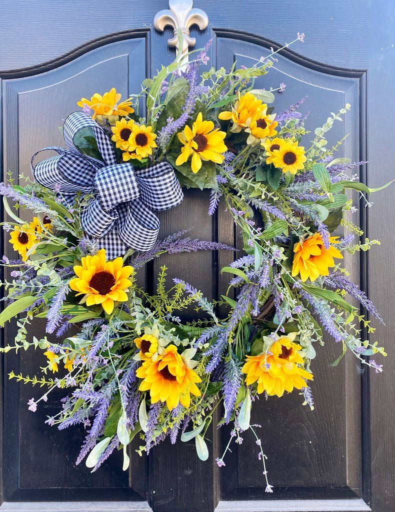 Photo of NEW! Farm house wreath, Lavender Wreath, Front Door Summer Wreath, Sunflower Wreath