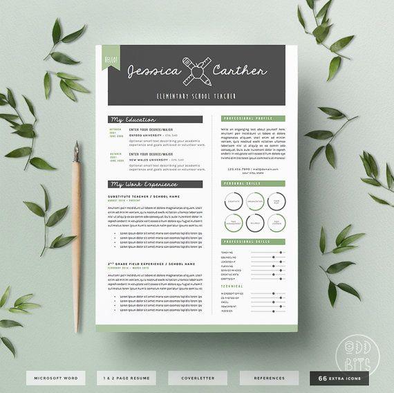 Lehrer Lebenslauf CV Design Cover-Briefvorlage von OddBitsStudio ...