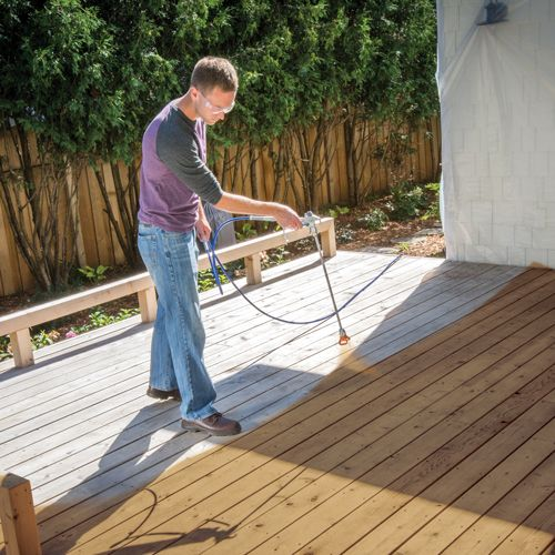 How To Paint Or Stain A Deck Using A Graco Paint Sprayer Staining Deck Paint Sprayer Deck Stain Sprayer