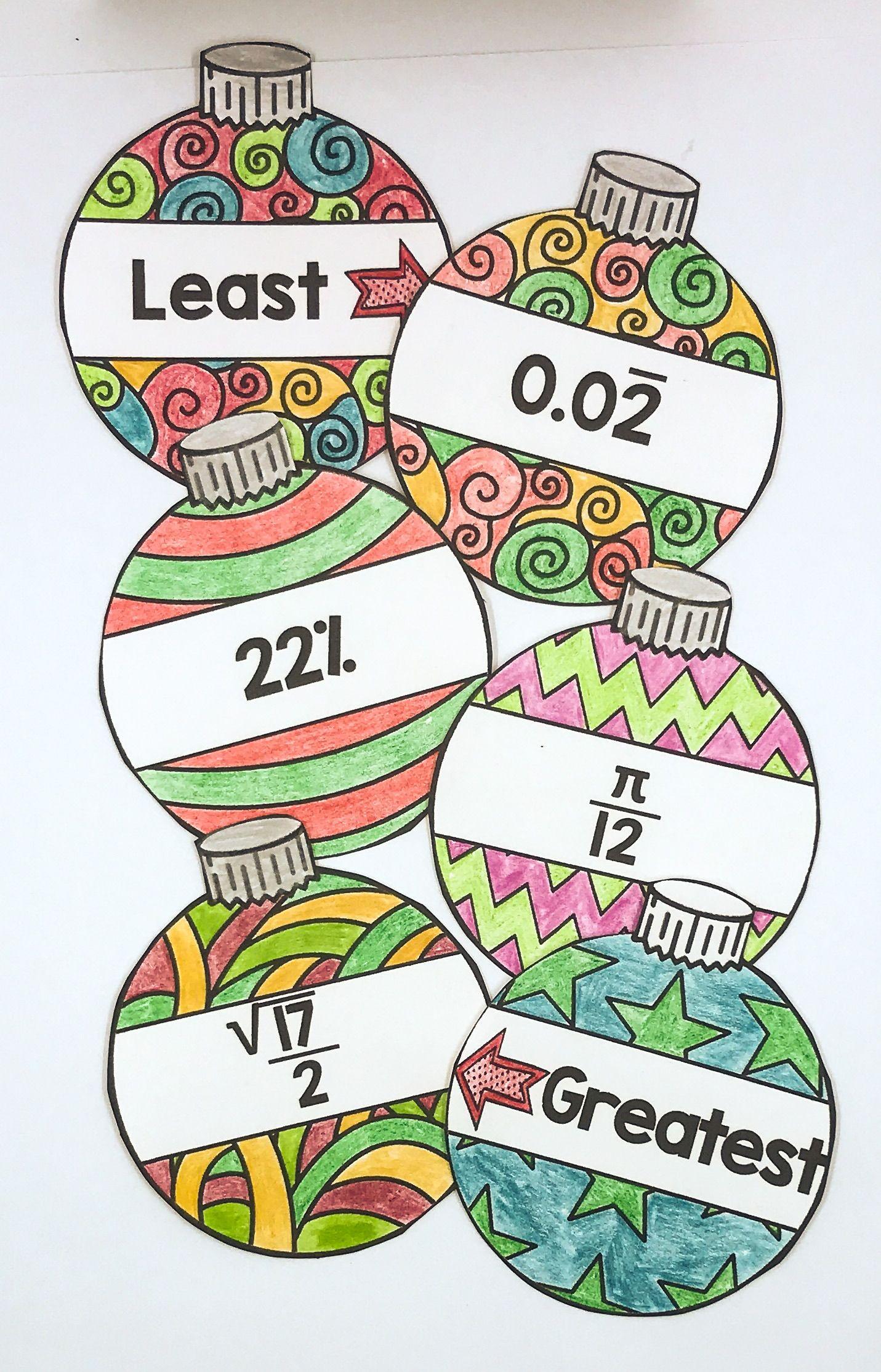 Ordering Ornaments - A Christmas Math Activity for Ordering Real Numbers   Christmas  math activities [ 2229 x 1431 Pixel ]
