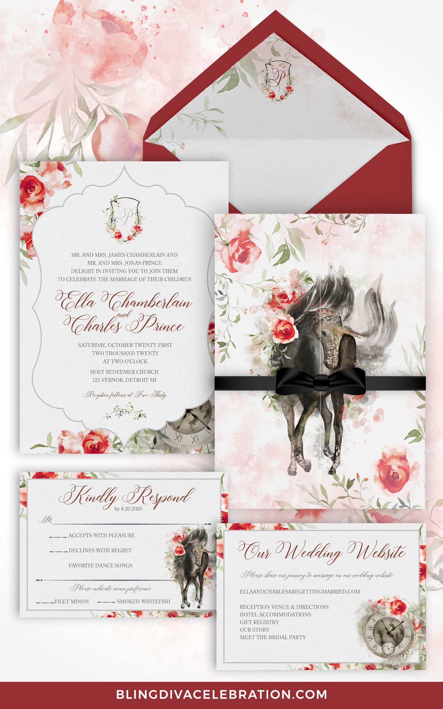 Holy Redeemer Halloween Party 2020 Fairytale Wedding Invitation Suite   Fairytale Wedding Theme   Red