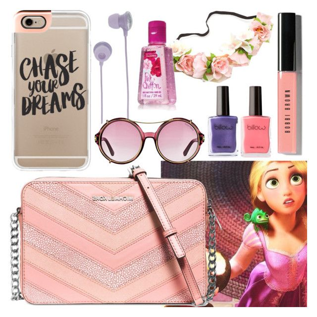 """""""What's In My Bag? - Rapunzel"""" by rainbowbaconcupcake ❤ liked on Polyvore featuring Casetify, Michael Kors, Bando, Bobbi Brown Cosmetics and Tom Ford"""