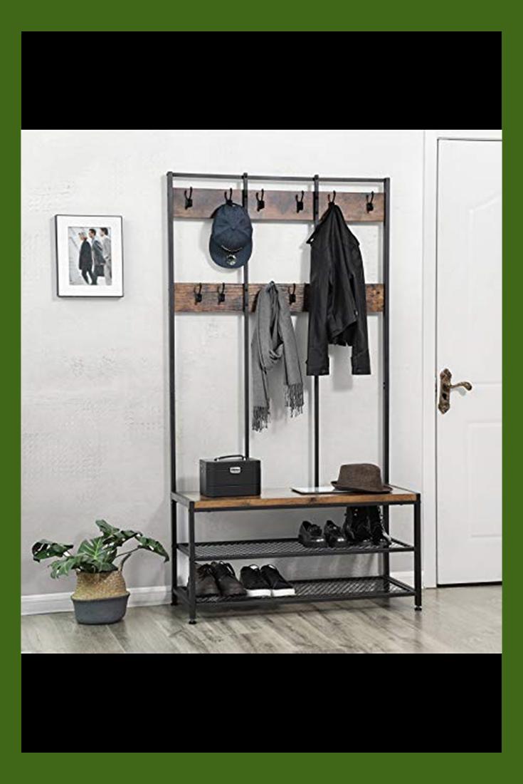 Hallway Coat Rack Bench Vintage Industrial Storage Shoe Shelves Entryway Hooks