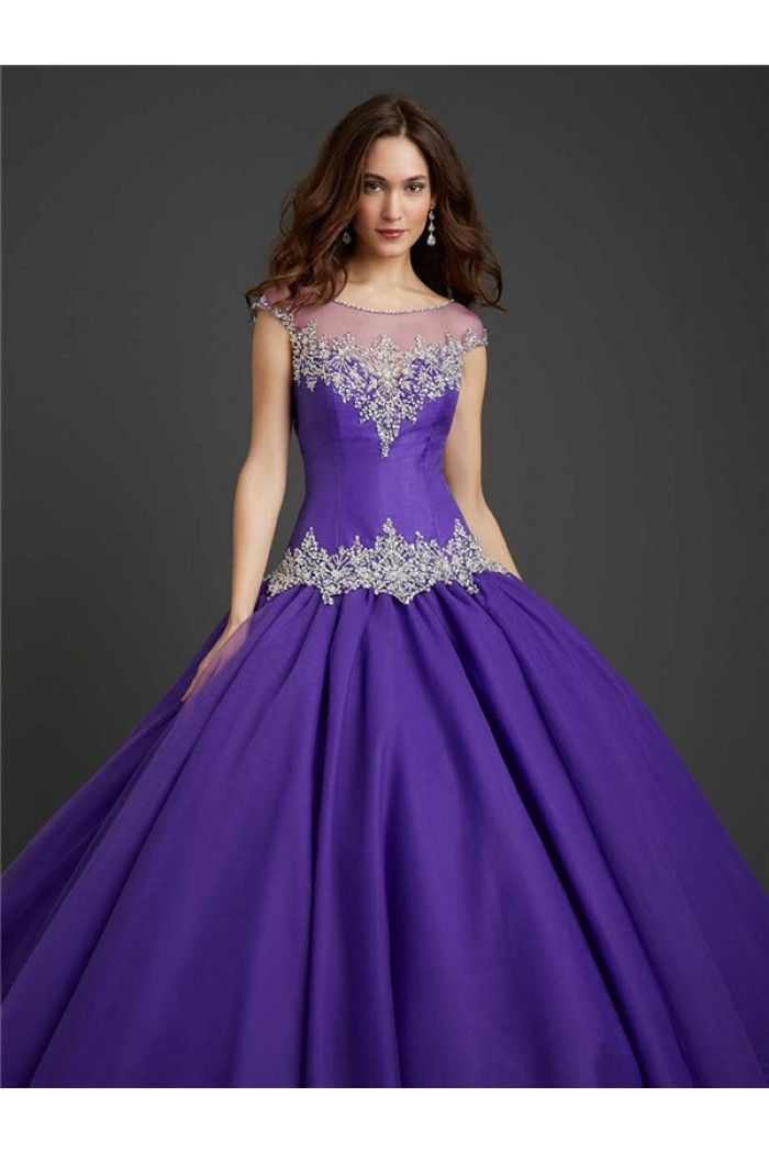 Purple Ball Gown Prom Dresses With Sleeves - Missy Dress