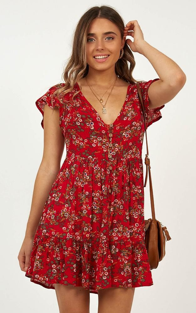 36d29a623ef Floating Wishes Dress In Red Print Produced By SHOWPO