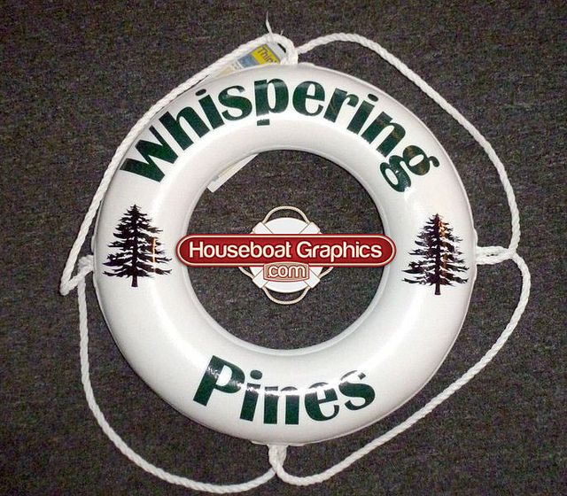 Houseboatgraphicscustomdesignliferingboatbuoy Lifebuoy - Custom designed houseboat graphics