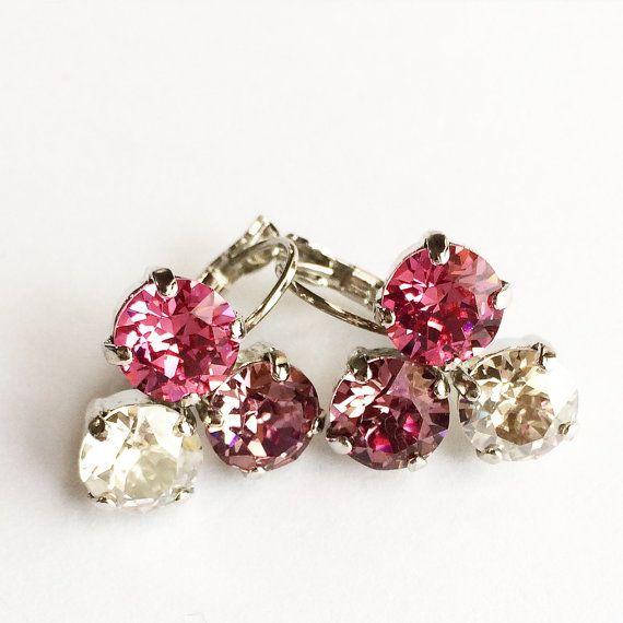 Triple stone earrings  Swarovski earrings by EverlyGraceDesigns