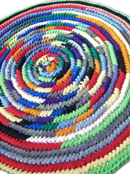 Round Rag Rug Upcycled T Shirt Small Naalbinding Toothbrush Ready To Ship