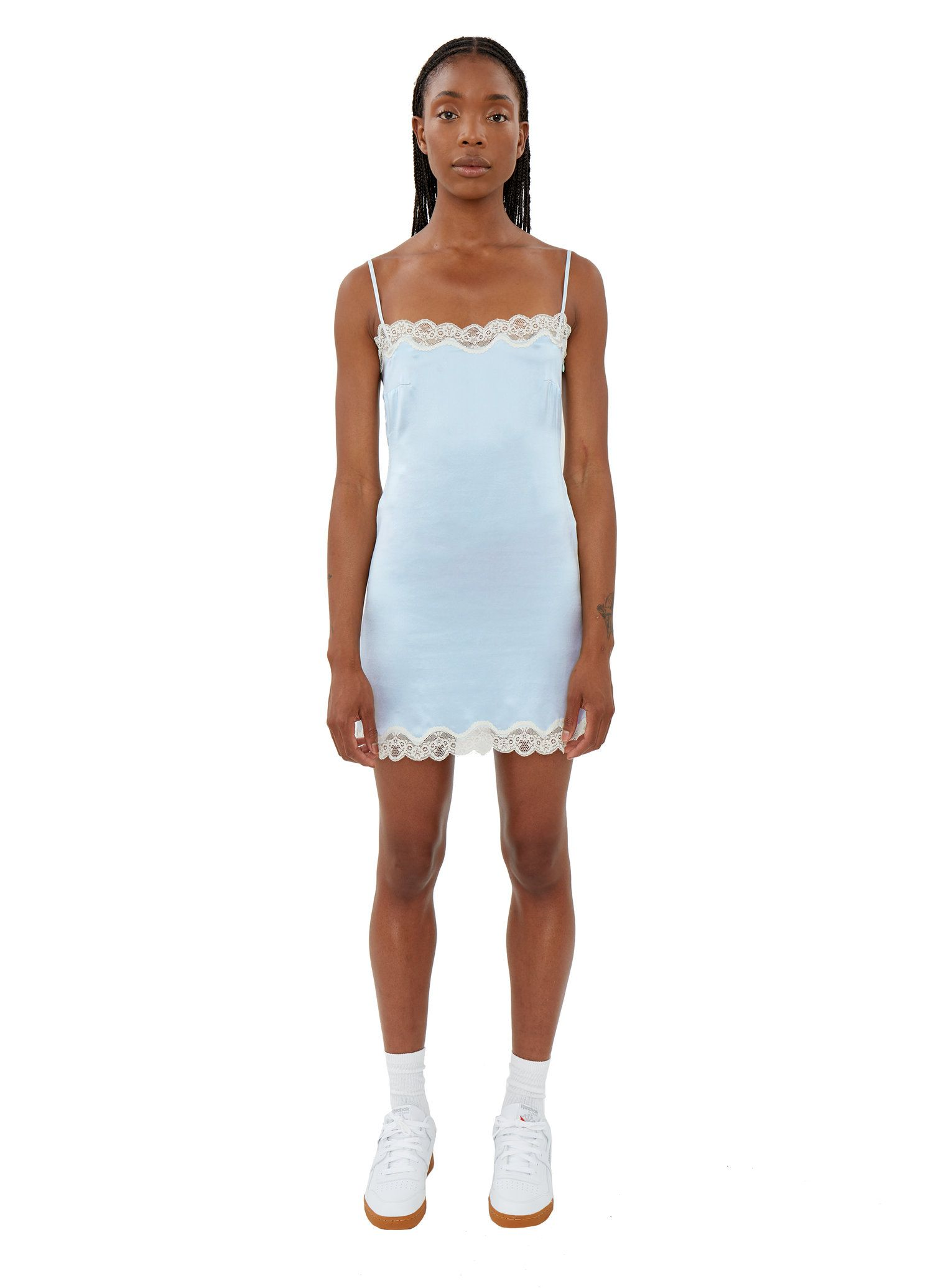 10+ Bright blue lace hem slip dress trends