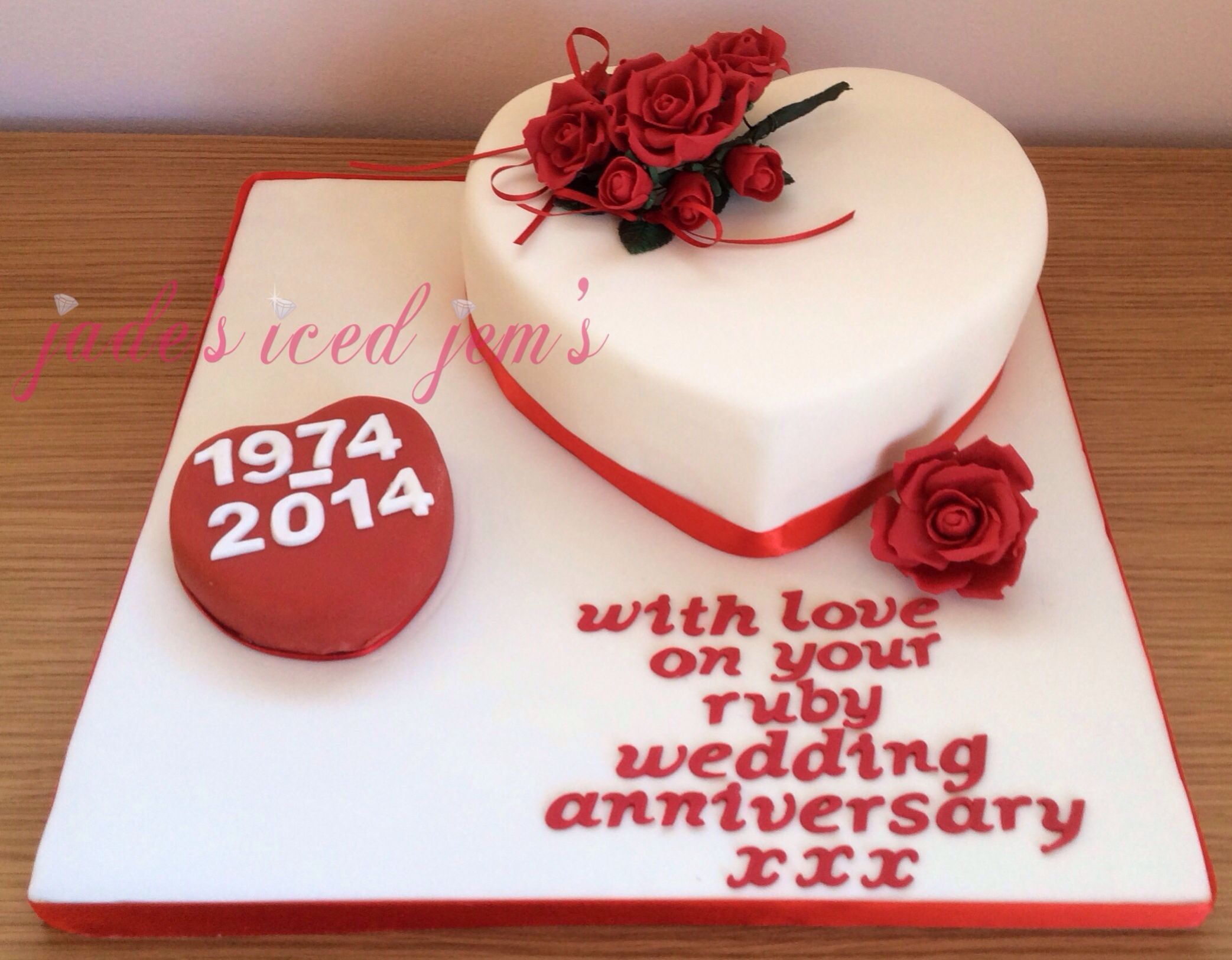 Ruby wedding anniversary cake heart cake sugar craft roses