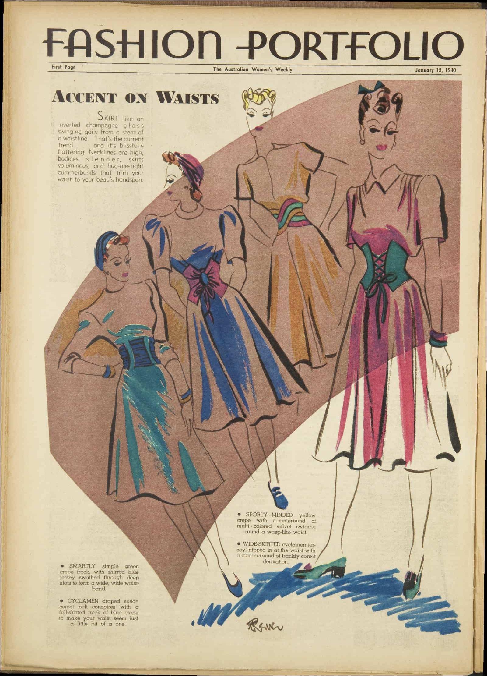 Australian womens weekly 1940 fashion illustration