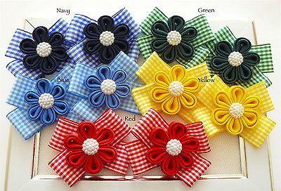 2 Handmade Gingham//check School Uniform Bow hair clips slides..