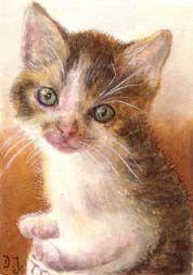 'Kitten in Basket II' - Little kitten sitting in a basket - kitten in watercolor