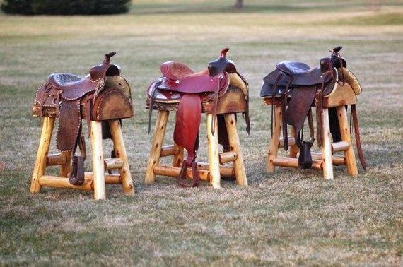 lot de 2 tabourets de bar de selle de cheval western authentique