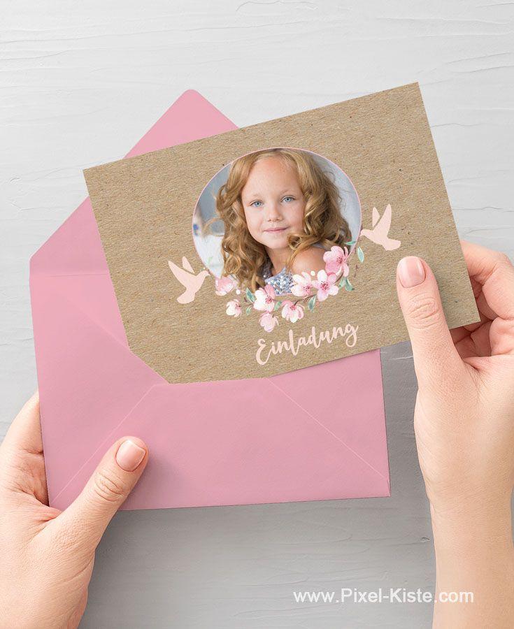 einladungskarten mit foto, kirschblüten und tauben