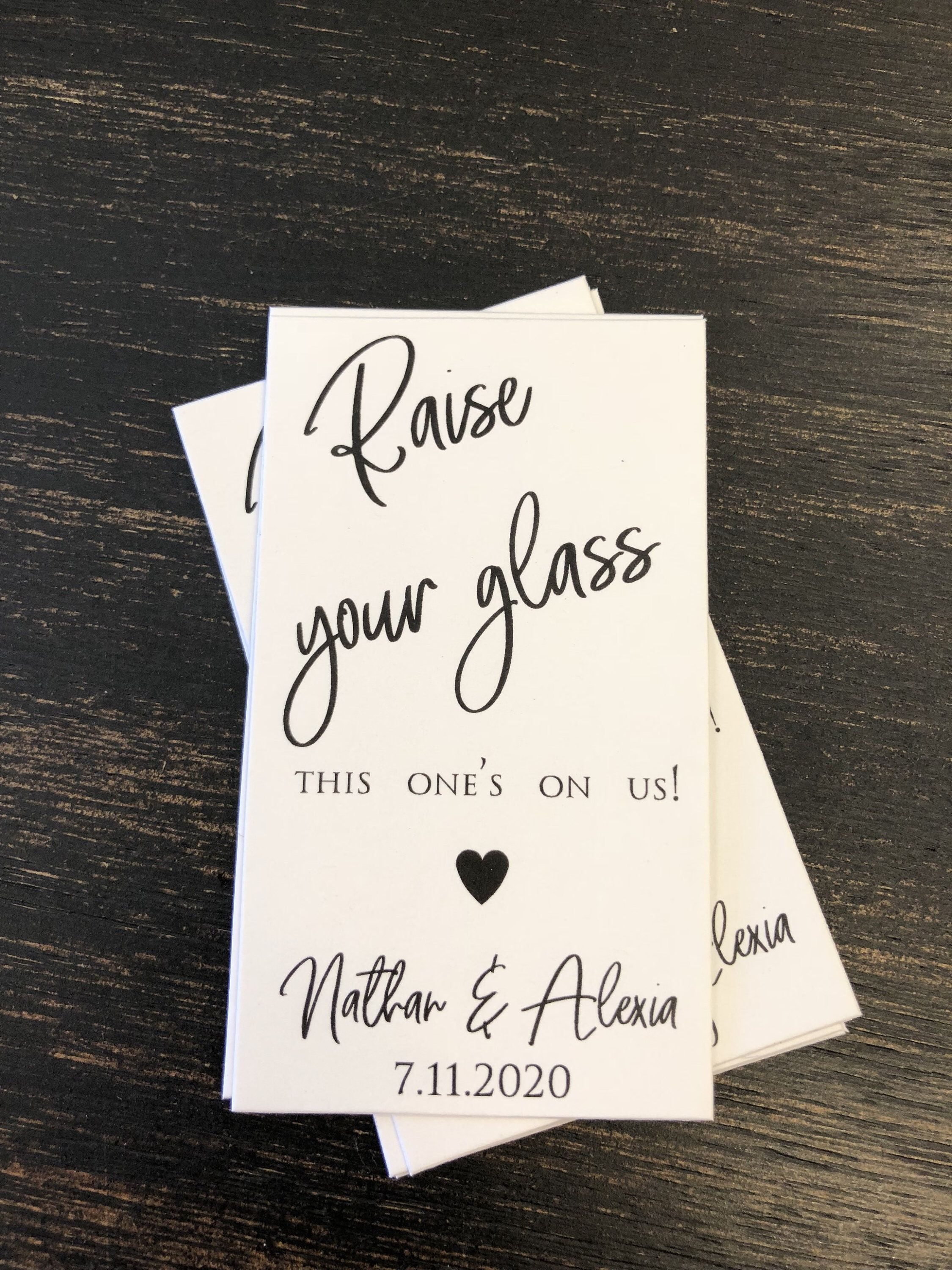 Admit one Drink Token One Drink Personalized 50 Wedding Drink Tickets Redeem for a Drink Coupon Party Bar Tickets Square Rustic