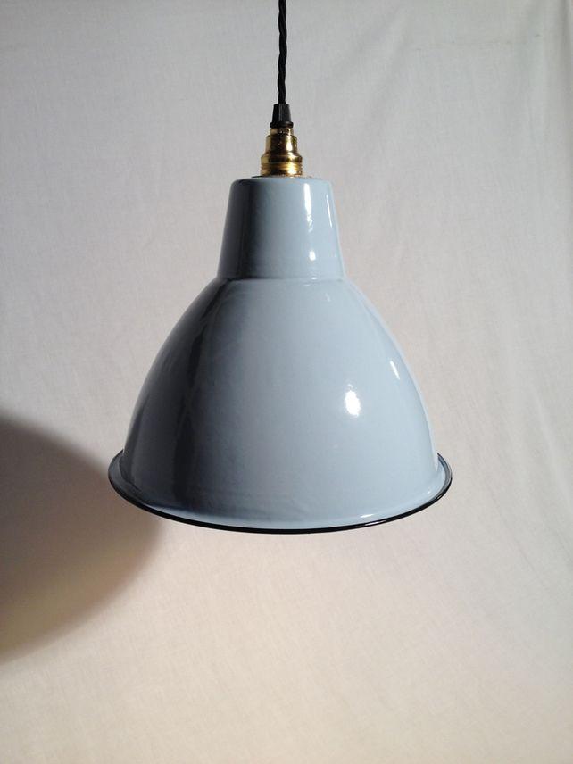Vintage Industrial Enamel Lampshade Lighting Complete Light
