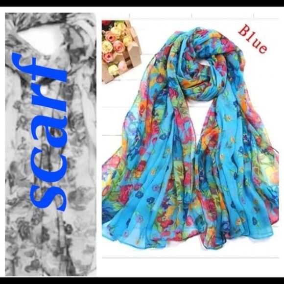 Blue floral scarf NWT. More scarves listed in my @reggies_closet. Bundles up to 60% off! Accessories Scarves & Wraps