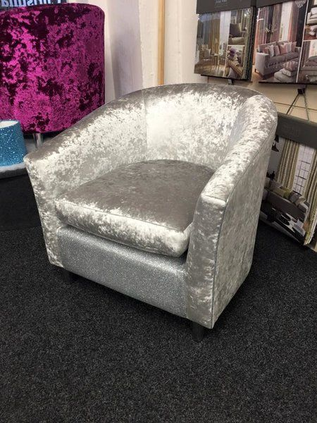Crushed Velvet And Glitter Chair Adults Tub Chair The