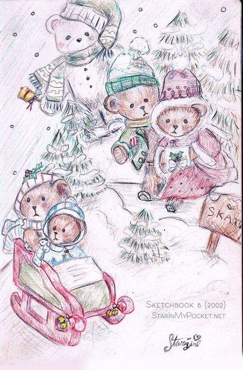 teddy bear winter christmas scene drawing in colored pencils sketchbook 5 2002