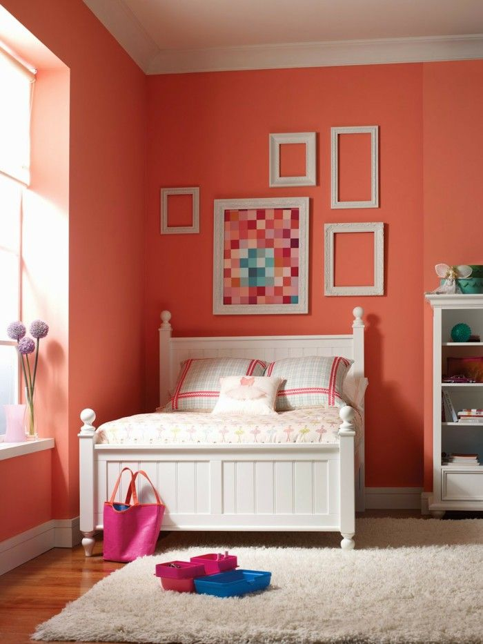 colour design bedroom wall color orange pastel picture frame - Bedroom Wall Colors