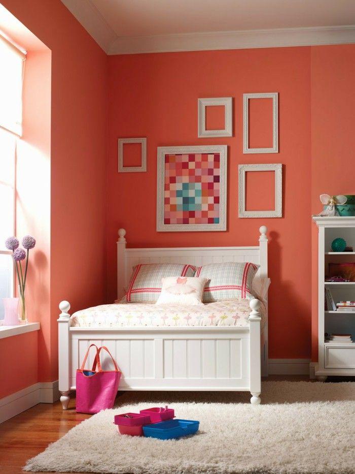 Colour design bedroom wall color orange pastel picture frame | Dorm ...